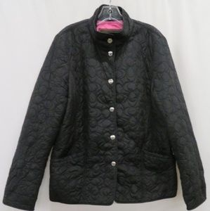 Coach Black Quilted Nylon Coat With Snaps